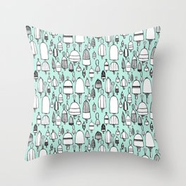 Buoyant Designs in Green Throw Pillow