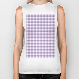 Geometric modern violet white checker stripes pattern Biker Tank