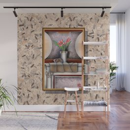 DW-007 Day Lilies With Nautilus Wall Mural