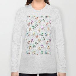 Cute red purple white snowman christmas pattern Long Sleeve T-shirt