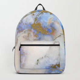 Gold And Blue Marble Backpack