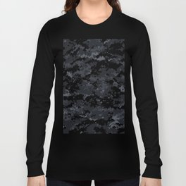 Pixelated Dark Grey Camouflage Long Sleeve T-shirt