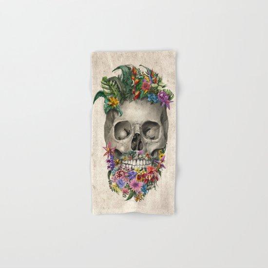 floral beard skull Hand & Bath Towel
