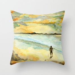 Orange Sunset Surf Throw Pillow