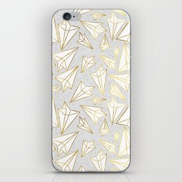 Paper Airplanes Faux Gold on Grey iPhone Skin
