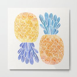 BFFs / Pineapple Watercolor Collage Metal Print