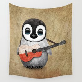 Baby Penguin Playing Polish Flag Acoustic Guitar Wall Tapestry
