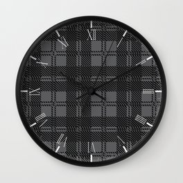 Grey Check Tartan Wool Material Wall Clock
