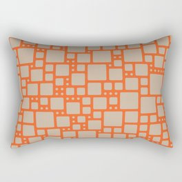 abstract cells pattern in orange and beige Rectangular Pillow