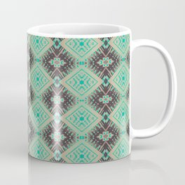 Subway Tracks Kaleidoscope Geometric Pattern - Mint Chocolate Colors Coffee Mug