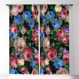 Floral pattern, blue roses,lisianthus.Black background  Blackout Curtain