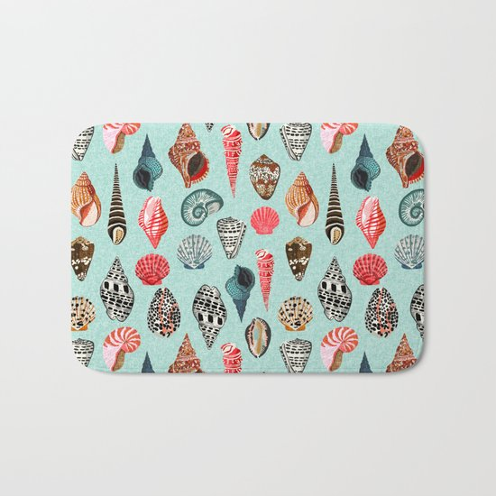 Seashells ocean nautical beach seaside children kids baby home dec shell illustration Andrea Lauren Bath Mat