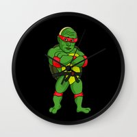 ninja turtle Wall Clocks featuring Teenage Putin Ninja Turtle by Chris Piascik