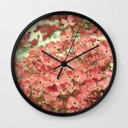 PRETTY PINK DOGWOOD TREE FLOWERS Wall Clock