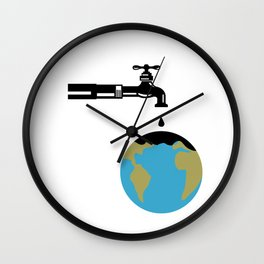 Faucet Dripping Water on Globe Retro Wall Clock