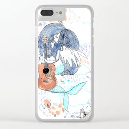 Lucy in the sky, sky, blue, guitar, psychadelic art Clear iPhone Case