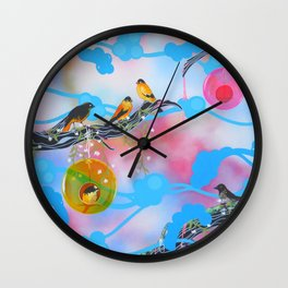 Society Finches Wall Clock