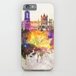 Leon skyline in watercolor background iPhone Case