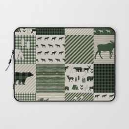 Camping hunter green plaid quilt cheater quilt baby nursery cute pattern bear moose cabin life Laptop Sleeve