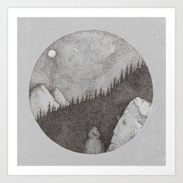 Mellan stammarna Art Print