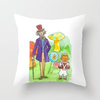 willy wonka Throw Pillows featuring Pure Imagination: Willy Wonka & Oompa Loompa by Michael Richey White by lost robot