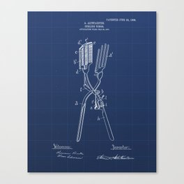 Curling Tongs Vintage Patent Hand Drawing Canvas Print