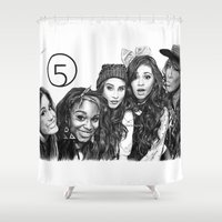 fifth harmony Shower Curtains featuring Fifth Harmony Group Drawing by Emilia Apreda
