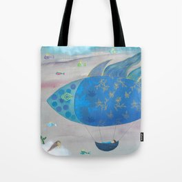 Flying Fish in Sea of Clouds with Sleeping Child Tote Bag