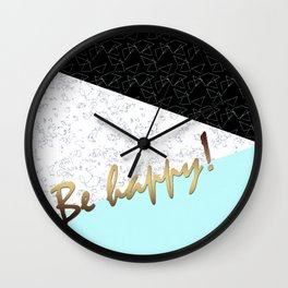 Be happy , patchwork Wall Clock