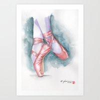 sneaker Art Prints featuring ballet sneaker by rchaem