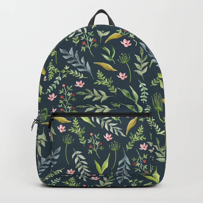 Floral blue pattern. Watercolor Backpack