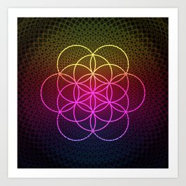 Sacred Rainbow Flower of Life Art Print