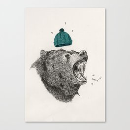 bear and cigaret  Canvas Print