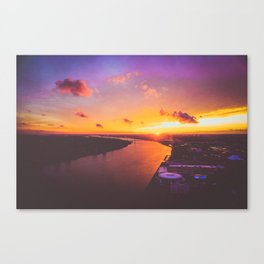 fiery sunset over the Detroit River Canvas Print
