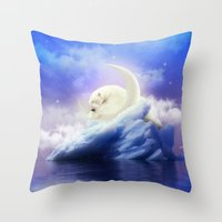 cartoons Throw Pillows featuring Guard Your Heart. Protect Your Dreams. (Polar Moon) by soaring anchor designs