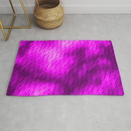 Line texture of magenta oblique dashes with a luminous intersection on a luminous charcoal. Rug