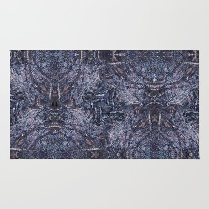 Feathers and bones-the blues Rug