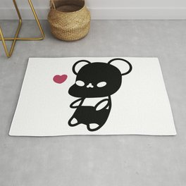 Black Kawaii Panda Bear Rug