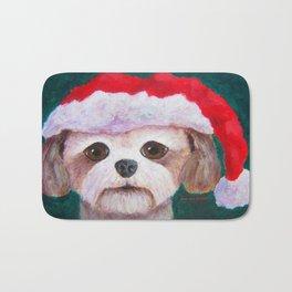 Christmas Shih Tzu By Annie Zeno Bath Mat
