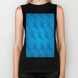 Watercolor running man silhouette background in blue color pattern Biker Tank