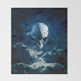 Reaper Moon Rising / 3D render of cratered skull moon in night sky Throw Blanket