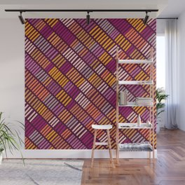 Purple & orange abstract lines pattern Wall Mural
