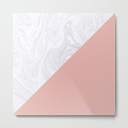 Rose Gold and White Marble Metal Print