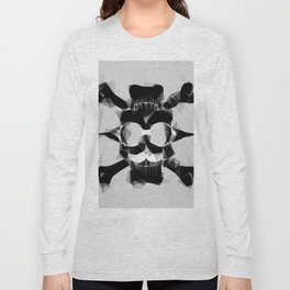 psychedelic skull art geometric triangle pattern abstract in black and white Long Sleeve T-shirt
