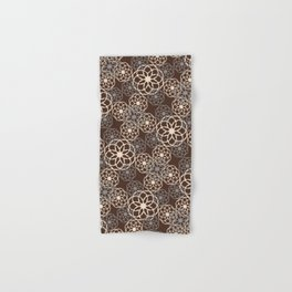 Brown and Silver Floral Pattern Hand & Bath Towel