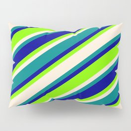 Dark Blue, Chartreuse, Beige, and Teal Colored Stripes/Lines Pattern Pillow Sham