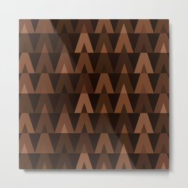 ABSTRACT TRIANGLES | espresso brown Metal Print