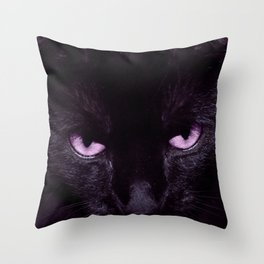 Black Cat in Amethyst - My Familiar Throw Pillow