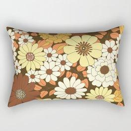 Brown, Orange, Ivory & Yellow Retro Flower Pattern Rectangular Pillow