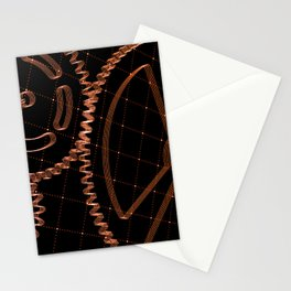 Set of red gears and cogs on virtual screen Stationery Cards